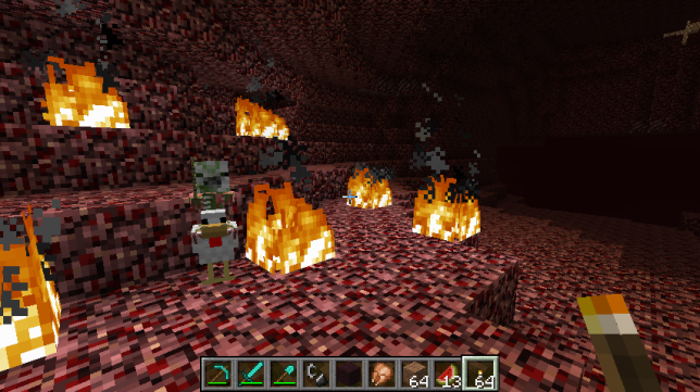 Zombie baby pigman riding a duck in minecraft