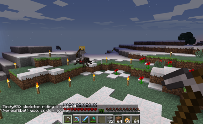 Spider jockey (skeleton) riding around in Minecraft