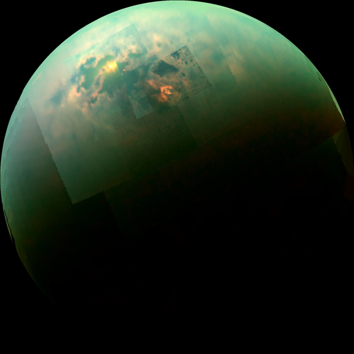 Sun glinting off Titan's north polar seas, picture taken by Cassini spacecraft.