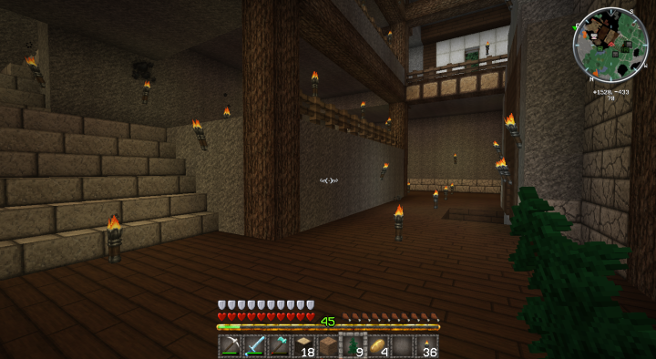 Minecraft Stables Interior shot from Bottom Floor